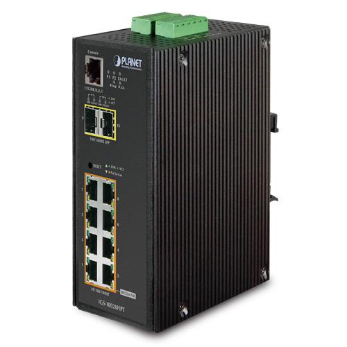 Planet IGS-10020HPT Przemysłowy zarządzalny switch z szerokim zakresem temperatury pracy 8 portów 10/100/1000T 802.3at PoE + 2 porty 100/1000X SFP